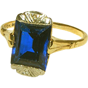 Art Deco 10k Gold Large Blue Synthetic Sapphire Stone Ring, Size 7 1/2