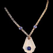 Art Deco 14k Gold, Rock Crystal & Chalcedony Lavaliere Drop Necklace