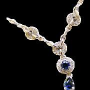 14k Vintage White Gold Diamond Sapphire Art Deco Style Vintage Drop Necklace, Signed