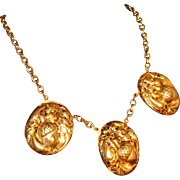 Art Deco Solid Brass High Relief Repousse Gold Acorn Necklace