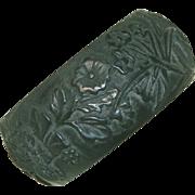 """SALE Exquisitely Carved Extra Wide 1 3/8"""" Antique Bog Oak Bangle Bracelet"""