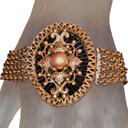 SALE Antique Victorian Chain & Medallion Brass Bracelet