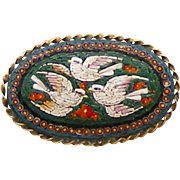 SALE Museum Quality Three Dove Micro Mosaic Antique Pin, Rope Frame with 3 Mosaic Borders