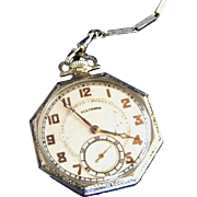 SALE Antique Sterling Silver Swank Watch Chain & Sterling Silver Rare Working Illinois Pocket
