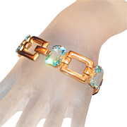Art Deco Rose Gold Color Solid Plated Metal, Large Aqua Open Back Stone Vintage Bracelet