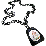 SALE Large Black Bakelite Celluloid Signed Vintage Portrait Necklace of Possible Prussian ...