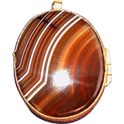 Antique English Scottish Banded Agate Mourning Jewelry Locket & Chain