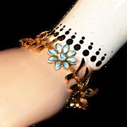 Bugbee & Niles, c.1940 Gold Plated & Blue Enamel, Rhinestone Vintage Link Bracelet
