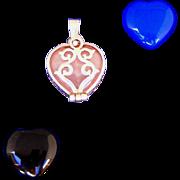 Sterling Silver Semi Precious Interchangeable 3 Stones Vintage Pendant
