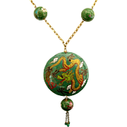 SALE Awesome Cloisonné Enamel Chinese Dragon Pendant & Bead Signed Vintage Necklace