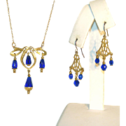 SALE Incredible Cobalt Blue Faceted Glass Drops Vintage Necklace & Pierced Earrings