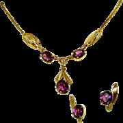Gold Filled Amethyst Purple Stone Vintage Signed Van Dell & 12kt GF Necklace , Earrings Set