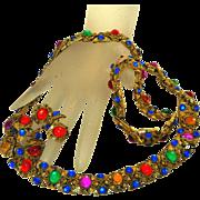 SALE Couture Vintage 70'S Moghul Jewels Necklace Bracelet Earrings Set, Full Parure!