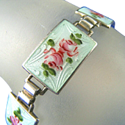 SALE Sterling Silver Guilloche Enamel and Hand Painted Roses Vintage Panel Bracelet