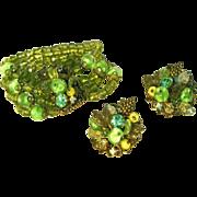 SALE Stunning Vintage Glass Multi Strand Wide Bracelet, Fancy Clasp & Large Fancy Earrings, Se
