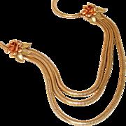 Krementz Signed Antique 14k Rolled Gold Silky Snake Chain Bib Drop Necklace