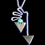Sterling Silver Vintage Modernistic Hematite Pendant