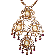 Stunning Glass Opal & Rhinestones Vintage Large Drop Necklace