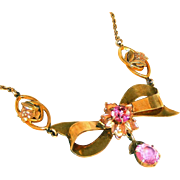 12kt Gold Filled J J White Co Vintage Retro Modern Pink Stone Bow Drop Necklace ...