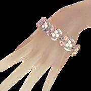 White & Pink Enamel Flowers & Rhinestones, Ball Decorations Vintage Bracelet, Safety Chain
