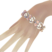 White & Pink Enamel Flowers & Rhinestones, Ball Decorations Vintage Bracelet, Safety Chain