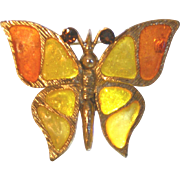SALE Sunburst Colors Plique a Jour Vintage Butterfly Pin