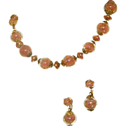 Art Glass Pink Venetian Murano Italian Encased & Gold Flecked Glass Beads Vintage Necklace, ..