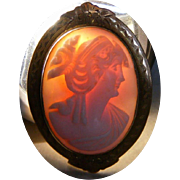 SALE Antique Pink Shell Cameo in 10k Gold Frame Pin, Pendant