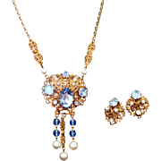 West German Vintage Lavalier Style Rhinestone & Faux Pearl Necklace Earring Set