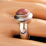 Sterling Silver Domed Rhodocrosite Vintage Ring, Size 9 1/2