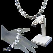 Napier Retro Modern Vintage Sterling Silver Parure, Necklace, Bracelet & Earring Set