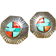 Large Sterling Silver Inlaid Zuni Button Clip Earrings