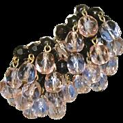 SALE Saphiret & Black French Jet Glass Vintage Cha Cha Earrings