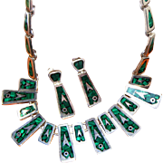 SALE Heavy Taxco Sterling Silver & Malachite Vintage Mexican Signed Necklace, Earring Set, ...