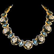 Large Smoky Topaz & Ceylon Sapphire Glass Open Back Stone Vintage Necklace