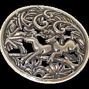"SALE Vintage Sarah Coventry 50"" Large Silvertone Pin/Pendant"