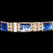 SALE Sterling Silver Blue Mirror Glass Carved Faces Vintage Mexican Bracelet