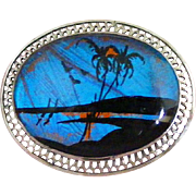 Sterling Silver Filigree Frame Vintage Scenic Butterfly Wing Beach Scene