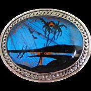 Sterling Silver Filigree Frame Vintage Scenic Butterfly Wing Beach Scene