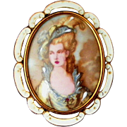 Large Porcelain Portrait Victorian Lady Signed TLM Made in England Vintage Pin, Pendant