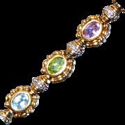 Vintage Vermeil Gold Over Sterling Victorian Revival Gemstone Bracelet