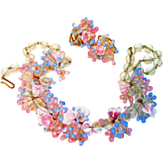 Pastel Venetian Floral Blown Glass Elaborate Necklace & Clip Earrings Signed Italy, Set