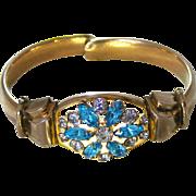 SALE Retro Modern Vintage c.1940 Signed 12kt GF Rhinestone Cuff Bracelet