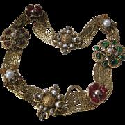 CHANEL Poured Glass & Pearls & Rhinestones Gorgeous Vintage Runway Belt