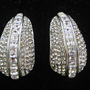 SALE Stunning 1980s Rhinestones Covered Designer Earrings