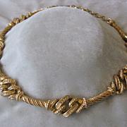 SALE Christian DIOR Rhinestones & Gold Tone Vintage Necklace