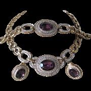SALE PISCITELLI Purple Glass & Rhinestones Necklace Earrings & Bracelet Parure
