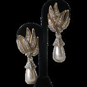 Stunning Vintage Rhinestones & Glass Pearl Drops Earrings