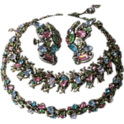 SALE HOLLYCRAFT 1950 Multi Color Necklace, Earrings & Bracelet