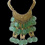 SALE Heavy Molded Glass Egyptian Revival Vintage Bib Necklace